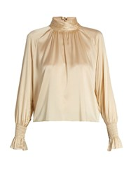 Trademark High Neck Charmeuse Blouse Cream