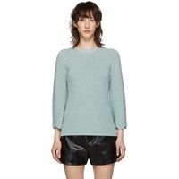 Red Valentino Blue Knit Scallop Sweater
