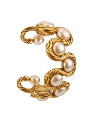 Chanel Vintage Twisted Pearl Cuff Metallic