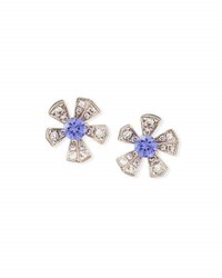 Mimi So The Wonderland Purple Sapphire And Diamond Flower Earrings