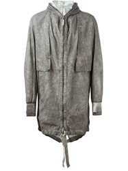 Isaac Sellam Experience Leather Hooded Parka Grey