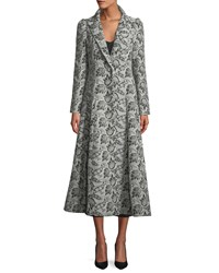 One Button Jacquard Princess Coat Gray