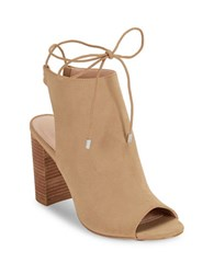 Charles By Charles David Elista Chunky Heel Peep Toe Ankle Boots Taupe