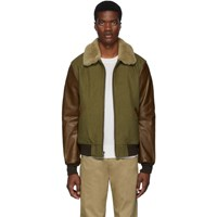 Schott Khaki And Brown Leather B 15 Jacket