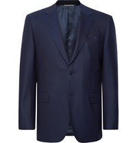 Canali Navy Slim Fit Wool Twill Suit Jacket Blue