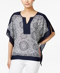 Styleandco. Style And Co. Paisley Print Split Neck Poncho Only At Macy's Pendant Paisley