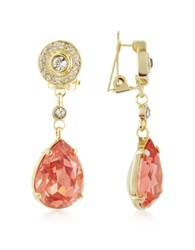 A Z Collection Orange Clip On Drop Earrings Gold