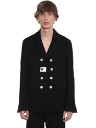 Ann Demeulemeester Double Breast Wool And Cotton Blazer Black