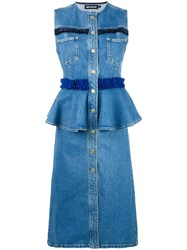 House Of Holland Frill Denim Dress Blue