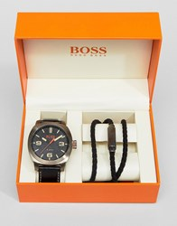 Boss Orange By Hugo Watch And Bracelet Gift Set In Black Black