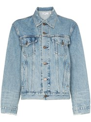 Re Done Perfect Boxy Fit Distressed Detail Denim Jacket Blue