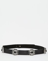 Aldo Western Detail Leather Belt Blackantiquesilver