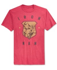 Mighty Fine Men's Iron Man Retro Shield Graphic Print T Shirt Heather Red