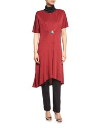 Misook Collection Flowing Short Sleeve Dress W Buckle Red Plus Size