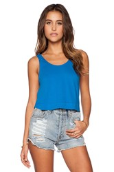 Bobi Light Weight Jersey Crop Swing Tank Blue