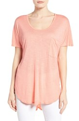 Bobeau Women's Short Sleeve One Pocket High Low Tee Coral
