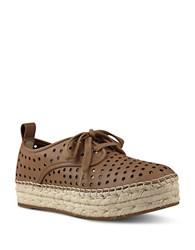 Nine West Garza Perforated Double Espadrille Platform Sneakers Dark Brown