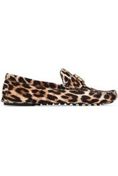 Tory Burch Embellished Leopard Print Calf Hair Loafers Animal Print