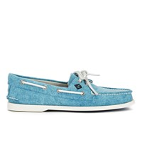 Sperry Men's A O 2 Eye White Cap Canvas Boat Shoes Turquoise
