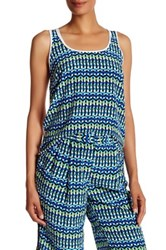 Tracy Reese Pattern Combination Tank Blue