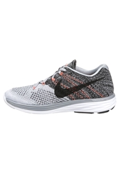 Nike Performance Flyknit Lunar 3 Lightweight Running Shoes Wolf Grey Black White Hot Lava
