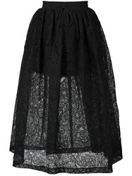 Vera Wang Full Floral Lace Skirt Black