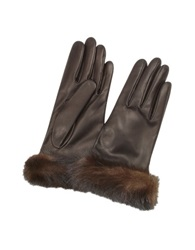 Forzieri Women's Dark Brown Italian Nappa Leather Gloves W Mink Fur