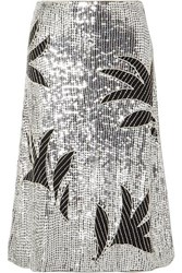 Dodo Bar Or Clara Embellished Sequined Tulle Skirt Silver