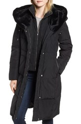 Cole Haan Down And Feather Coat With Faux Fur Hood Black