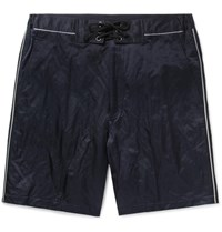 Lanvin Piped Cotton Blend Satin Shorts Navy