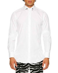 Dolce And Gabbana Cotton Dress Shirt With Music Note Collar White