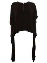 Lanvin Draped Keyhole Accent Top Black