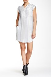 Pink Rose Cap Sleeve Stripe Shirt Dress White