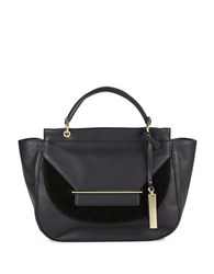 Vince Camuto Calf Hair Accented Satchel Black