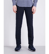 Slowear Slim Fit Tapered Linen Blend Chinos Navy