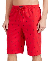 Polo Ralph Lauren Pony Print Jersey Pajama Shorts Red