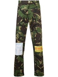Martine Rose Camouflage Print Patch Trousers Green