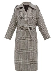 Petar Petrov Mila Double Breasted Checked Wool Coat Black White
