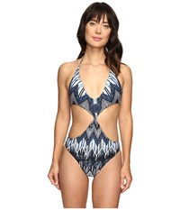 Red Carter Indigo Blues Twist Front Monokini One Piece Indigo Multi Women's Swimsuits One Piece Purple