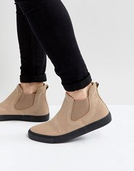 Asos Chelsea Boot Sneakers In Stone Faux Suede Stone