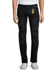 Robin's Jeans Long Flap Distressed Black