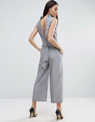 Asos Jumpsuit With Shirt Detail And Tie Back Silver