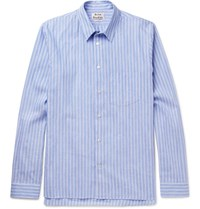 Acne Studios York Striped Linen And Cotton Blend Shirt Light Blue