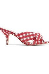 Loeffler Randall Woman Luisa Knotted Gingham Organza Mules Red