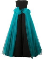 Christian Siriano Tulle Panel Gown Black