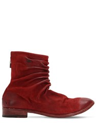 The Last Conspiracy Wrinkled Washed Leather Ankle Boots Red