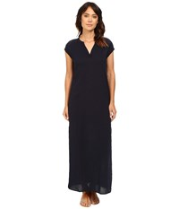 Three Dots Phi B Short Sleeve Long Dress Night Iris Women's Dress Navy