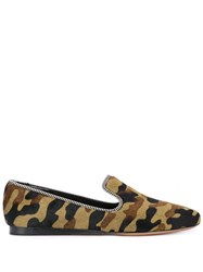 Veronica Beard Griffin Camouflage Loafers Green