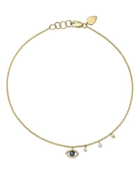 Meira T 14K White And Yellow Gold Sapphire Diamond And Cultured Freshwater Pearl Evil Eye Ankle Bracelet