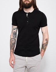 Wings Horns Base Short Sleeve Henley Black